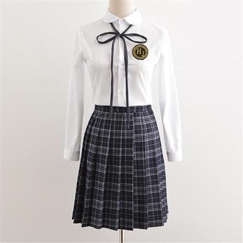 Fashion New Korean School Uniform High Middle White Shirt Plaid Skirt Sets Formal Japanese Girls Student Uniforms