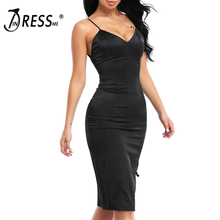 INDRESSME 2017 New Arrival Sleeveless Split Solid Sheath Lady Dress Sexy Deep V Midi Spaghetti Strap Summer Party Women Dress