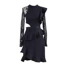 цена на Self Portrait Summer Runway Ruffles Irregular Lace Patched Dress Women Vintage Long Sleeve Package Hip Black Bodycon Club Dress
