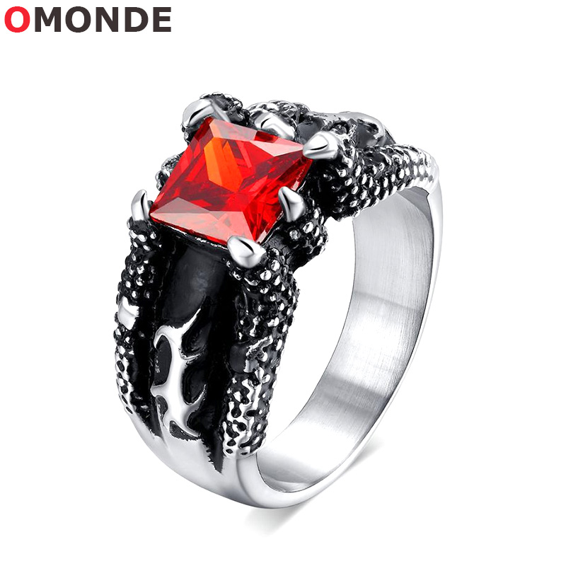 OMONDE Antique Dragon Claw Rings Black Silver Color Stainless Steel with Red Stone Vintage Finger Jewelry for Men Anillo Hombre