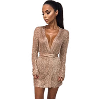 2018 Spring New Knitted Sweater Women Dress Elegant V Neck With Belt Bodycon Wrap Dress Sexy