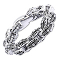 New Punk Charms Link Chain Bracelet Men Silver Retro Oval Calvaire Cross Curb Bracelets Bangles Patten Jewelry erkek bileklik