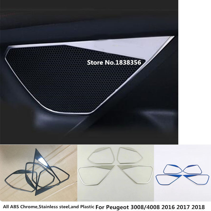 Car Sticker Stainless Steel Inside Door Audio Speak Speaker Ring Trim For <font><b>Peugeot</b></font> <font><b>3008</b></font> GT 3008GT 4008 <font><b>2016</b></font> 2017 2018 2019 2020 image