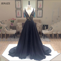 JIERUIZE Black Full Beading Luxury Evening Dresses Long 2018 A line V neck Prom Party Dresses Evening Gowns Formal Dresses