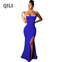 QILI Women Sexy Strapless Long Dress Red Yellow Black Blue Backless Lace Up Maxi Dresses Side Split Party Club S-XXL