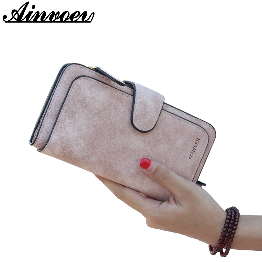 Ainvoev Women Wallet Design Hasp Female Coin Purse Solid Card Holder Cellphone Bag for Women Long Wallets Money bag Clutch a2617 simple organizer wallet women long design thin purse female coin keeper card holder phone pocket money bag bolsas portefeuille