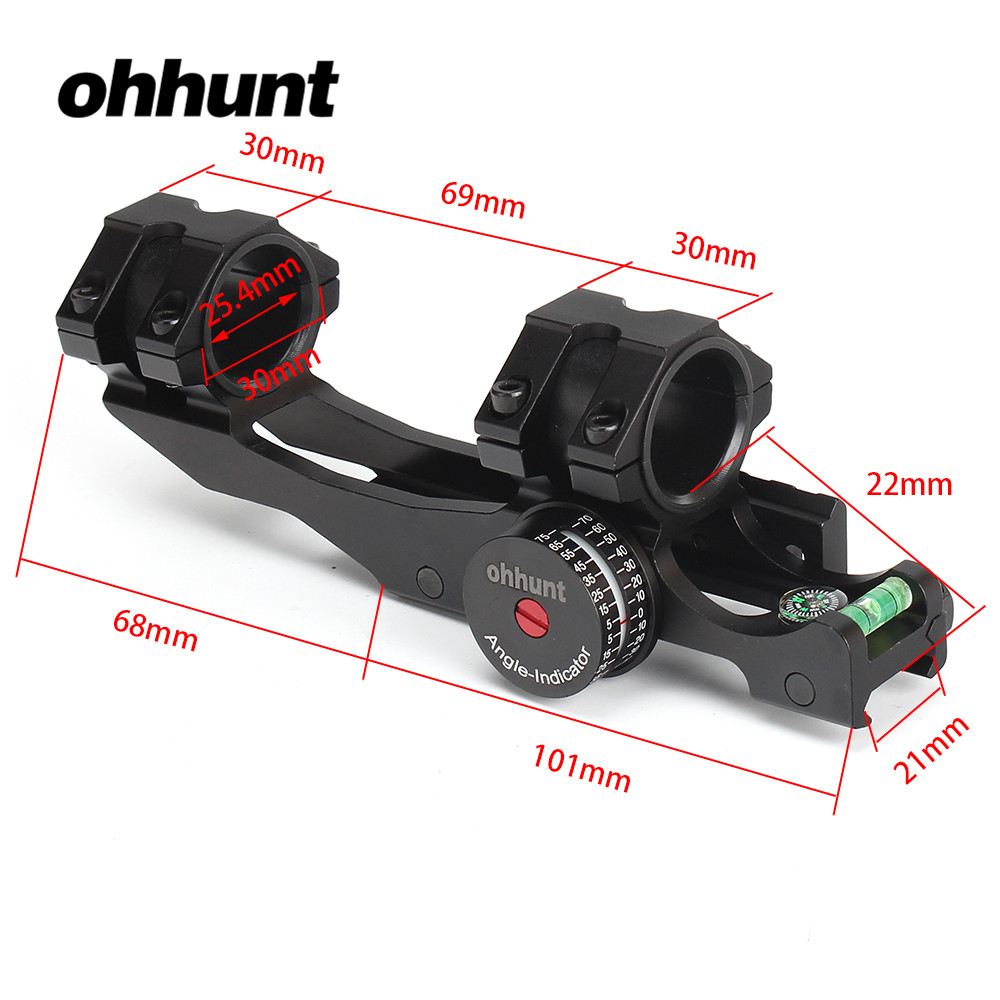 ohhunt 25.4mm 30mm Offset Bi-direction Picatinny Weaver Scope Rings Mount Bubb Level Compass and w/ Angle Cosine Indicator Kit lakve steel offset weaver mount for m4 khaki