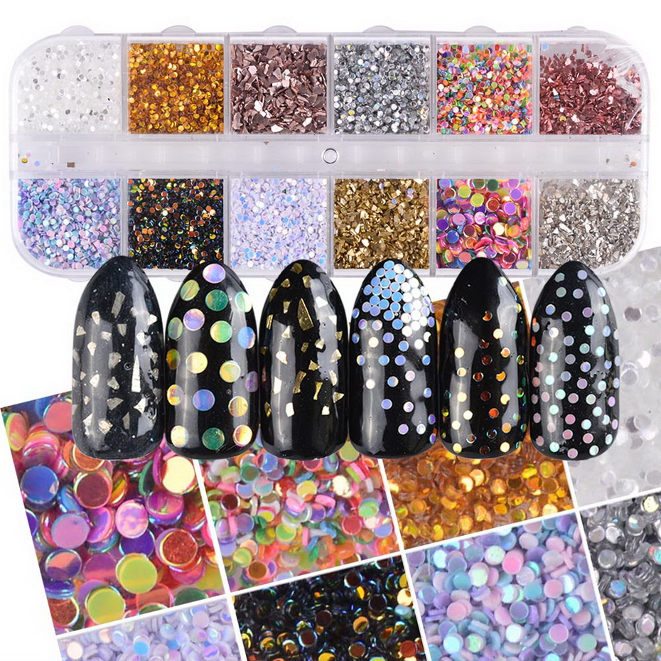 Aliexpress.com : Buy 12 grids Mixed Nail Designs AB Color