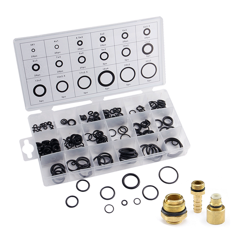225Pcs 18 Sizes O Ring O-Ring Rubber Kit Gaskets Washer Seals Assortment Black  For Car Auto Repair Tools Accessories rubber seals for fluid and hydraulic systems