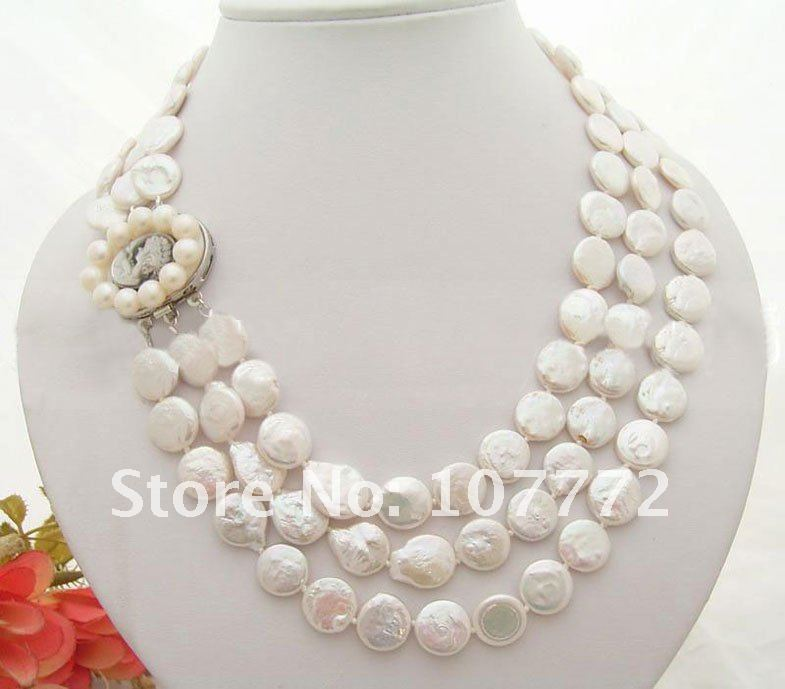 3 strands 12 mm White Coin Pearl Necklace 3 strands 12 mm White Coin Pearl Necklace