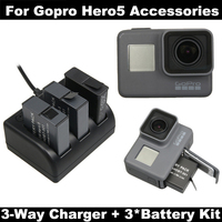 For Gopro hero 7 Hero 6 Hero5 battery + Go pro Hero 5 Charger 3 Way with Type C Port For GoPro 5 6 7 Hero5 Camera accessories
