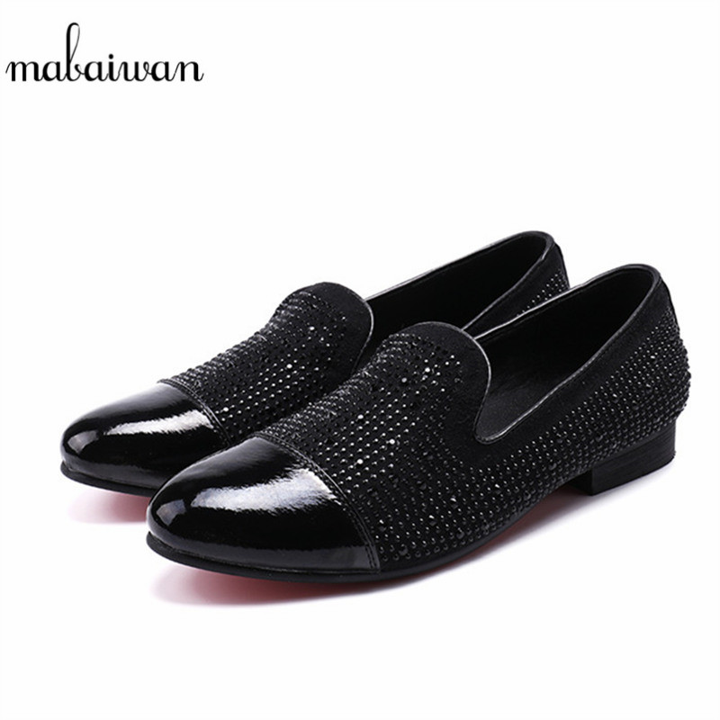 Mabaiwan Black Rhinestone Strass Men Loafers Leather Crystals Slippers Slip-on Suede Wedding Dress Shoes Men Flats Casual Shoes vivaldi the four seasons cd
