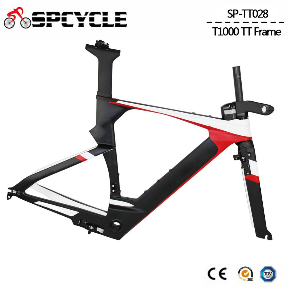 Spcycle Aero T1000 Carbon TimeTrial Triathlon Bike Frame 700C Ultralight Carbon TT Bicycle Frameset BB86 Size 48/51/54cm