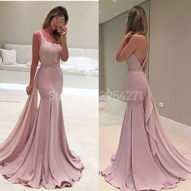Elegant Dirty Rose Evening Gown Mermaid One Shoulder With Crystals ...