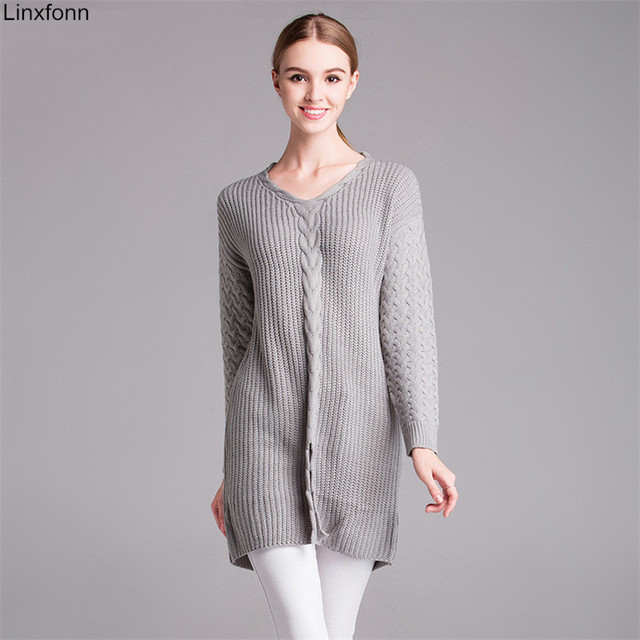 2017 Autumn Winter Plus Size V Neck Women Cable Knit Sweater Casual