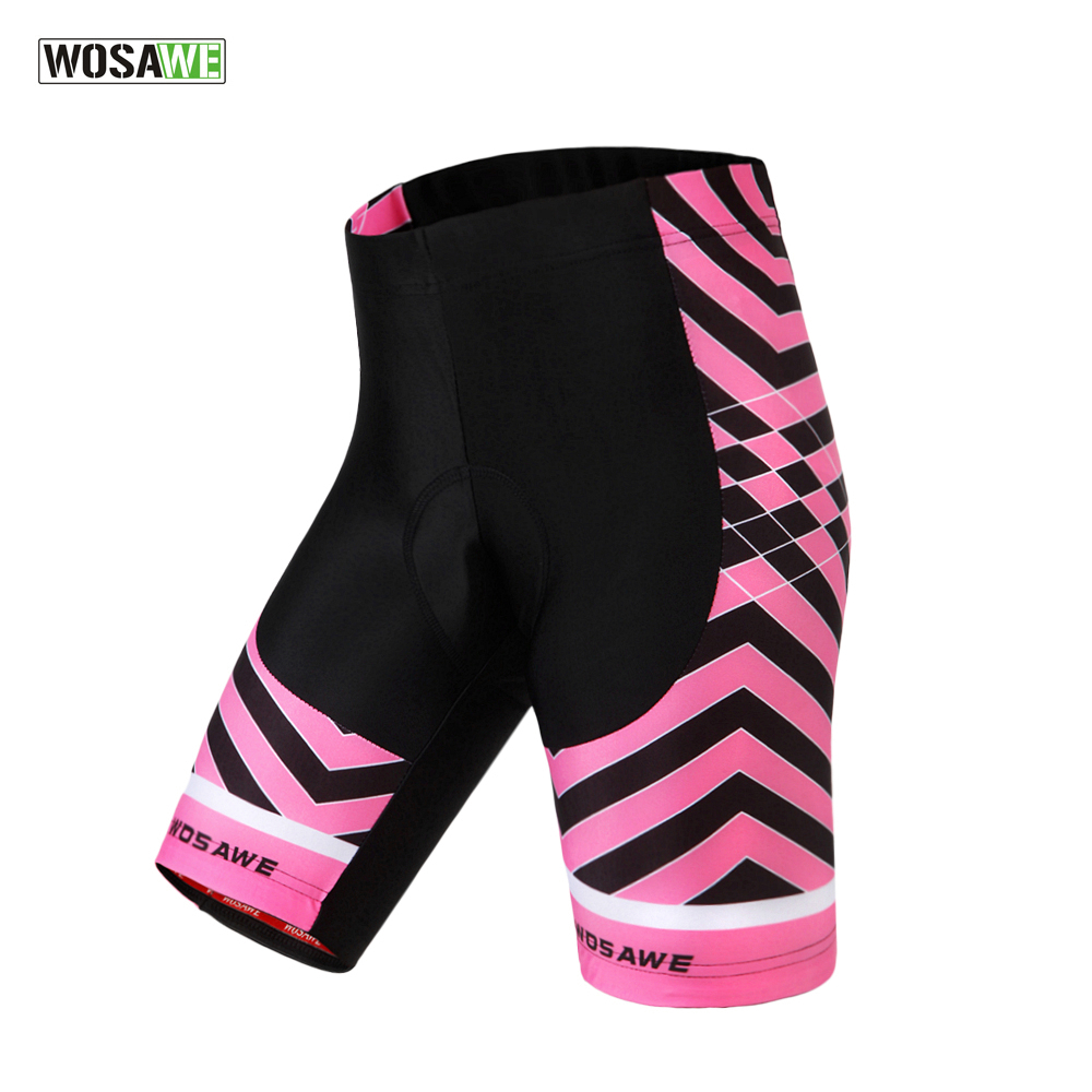 WOSAWE 2018 Womens Cool Gel Padded Cycling Shorts Shockproof MTB Road Bike Shorts Bicycle Bermuda Ciclismo Short Pants