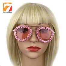 Mujeres de la Marca de Lujo gafas de Sol Joyería Rosa glisten Rhinestone Decoración piloto Shades Gafas de Sol de La Vendimia gafas de sol