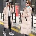 2016 Novo casaco de inverno mulheres moda slim médio longo de algodão acolchoado jaqueta parkas quente grosso manga comprida com capuz casuais mujer