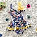 Traje de Baño Uno Junta las Piezas del Conjunto del Verano del Bebé Con El Arco de Encaje Playa del traje de Baño Floral Niño Niños traje de Baño Lindo Bikini S2015