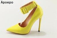 Nouvelle arrivée bout pointu à talons hauts glitter jaune pompes cheville wrap femmes partie sexy pompes super haute talon mince dames stilettos