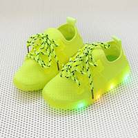 2018 Solid Cool LED Lighted Cute Baby First Walkers Lace Up All Season Sports Running Baby