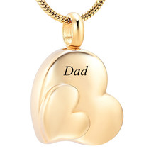 IJD12436 Gold Double Heart Shaped Cremation for Ashes Urn Keepsake Pendant Necklace Pet Memorial Souvenir Womens