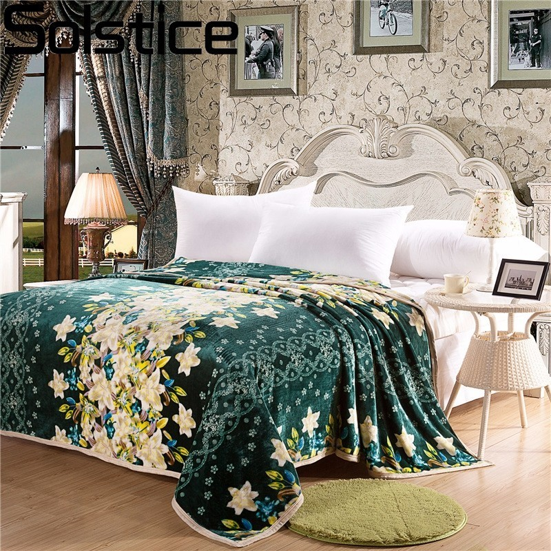 Solstice High Quality Stripe Green Flower Style Winter Warm Comfortable  Blanket Throw On Sofa/bed Sheet Travel Portable Blanket