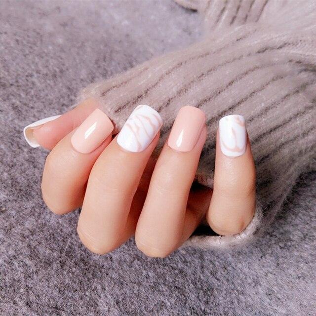 Shiny Flat Fake Nails Light Orange Pink False Nail Tip Blooming Design Full Cover Manicure