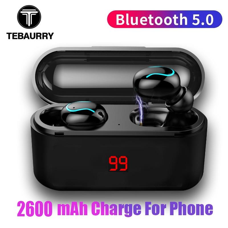 Tws V5.0 Bluetooth Earphone Stereo Bass True Wireless Earphones Sport Bluetooth Headphone Mini Earbuds with 2600mAh Power Bank