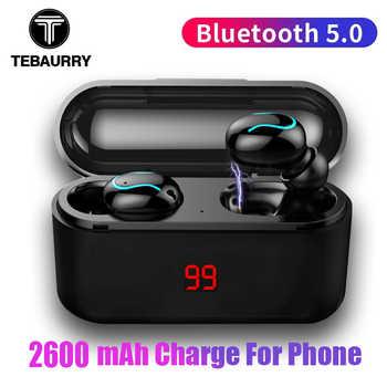 Tws V5.0 Bluetooth Earphone Stereo Bass True Wireless Earphones Sport Bluetooth Headphone Mini Earbuds with 2600mAh Power Bank - DISCOUNT ITEM  55% OFF All Category