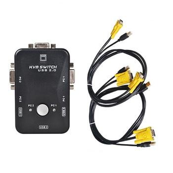 KVM Switch Box 2 Poort PC Monitor Schakelaars Doos Met 2 x USB VGA Kabels voor Computer/Toetsenbord/ muis Monitor, plug en Play