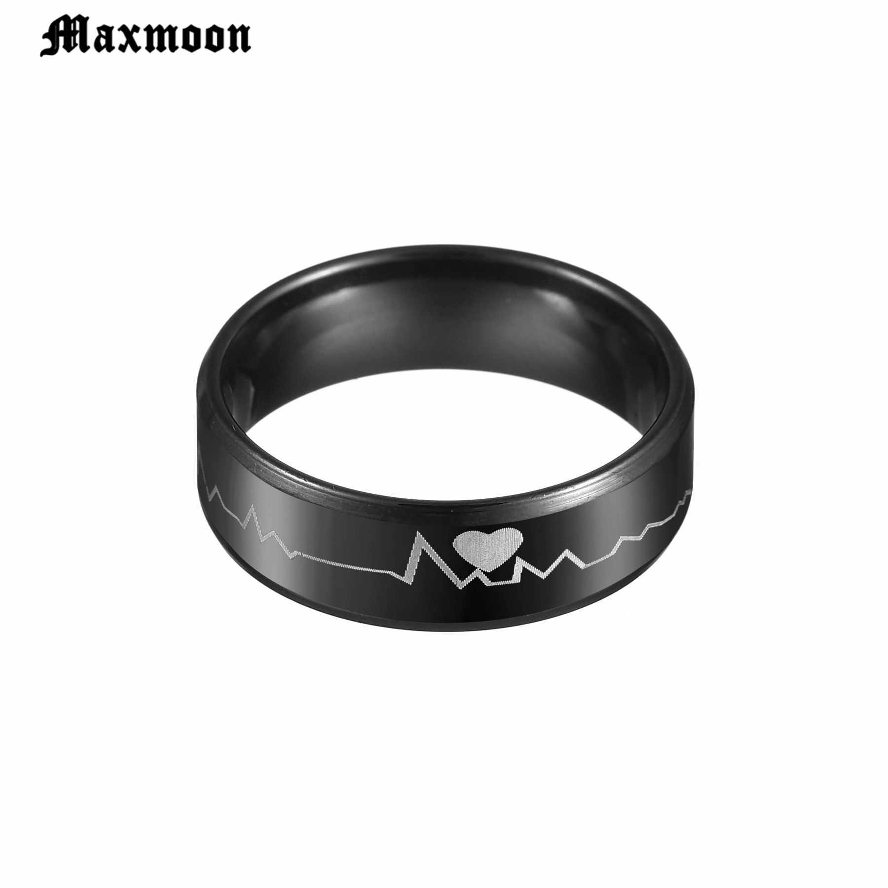 Maxmoon 8 มิลลิเมตรสีดำสแตนเลส Heartbeats Cardiogram แหวนหมั้นค็อกเทล Promise Lover คู่
