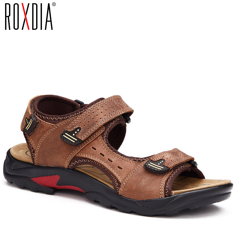 ROXDIA  Mens Beach Sandal Genuine Cow Leather Summer Men Sandals New Fashion Breathable Male Shoes Plus Size 39-48 RXM045
