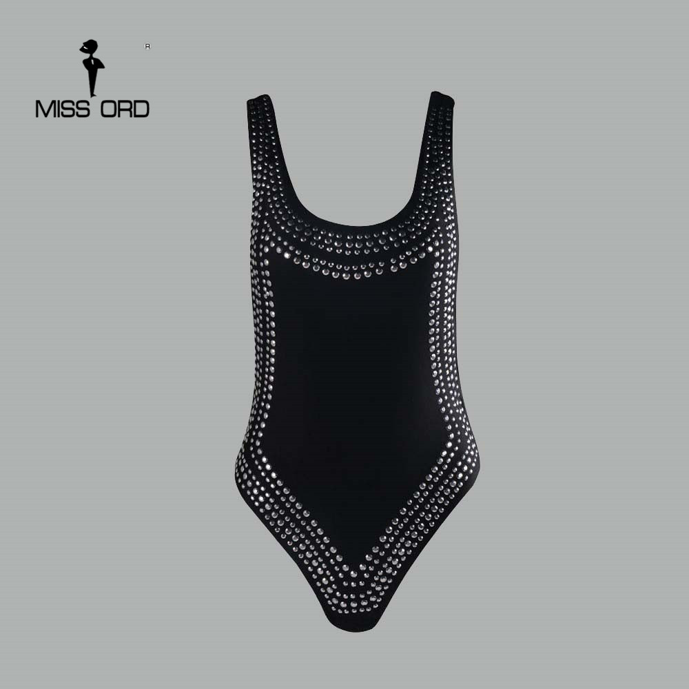 Missord <font><b>2018</b></font> <font><b>Sexy</b></font> tight u-neck Rhinestone reflective bodysuit FT4371 image