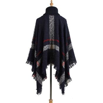 Hiawatha 2018 Long Turtleneck Cloak Knit Women Loose Plus Size Pullover Fashion Tassel Sweater M110 8