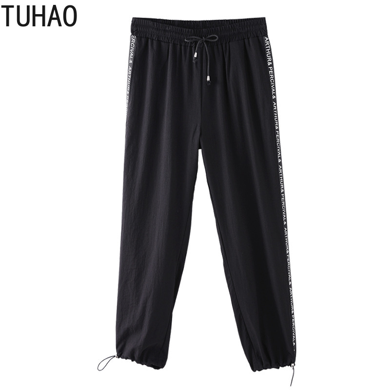 TUHAO plus size 10XL 8XL 6XL women casual pant for big size women black sweatpant active trousers Capris large size 4XL MS07