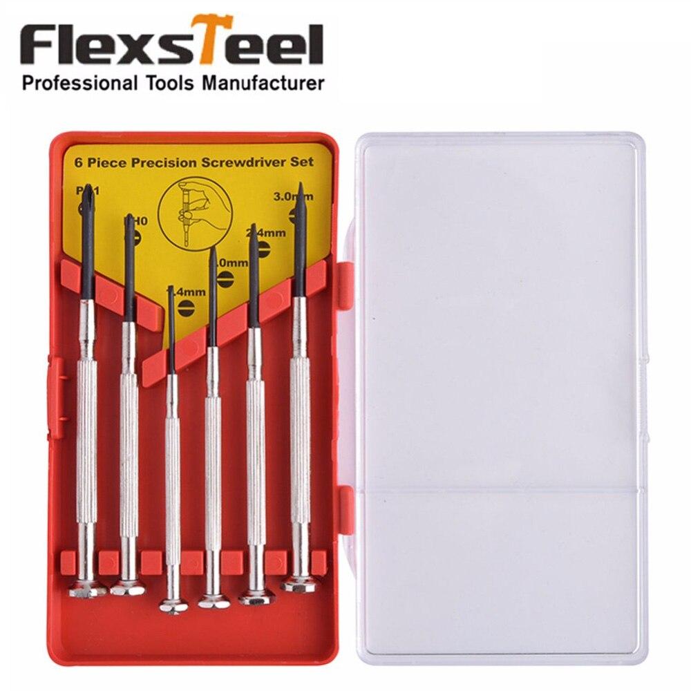 Flexsteel 6 pcs Multifunções de Precisão Conjunto Chave De Fenda com Fenda Phillips Bits para Vidros de Relógio chave de fenda Repair Tool Set