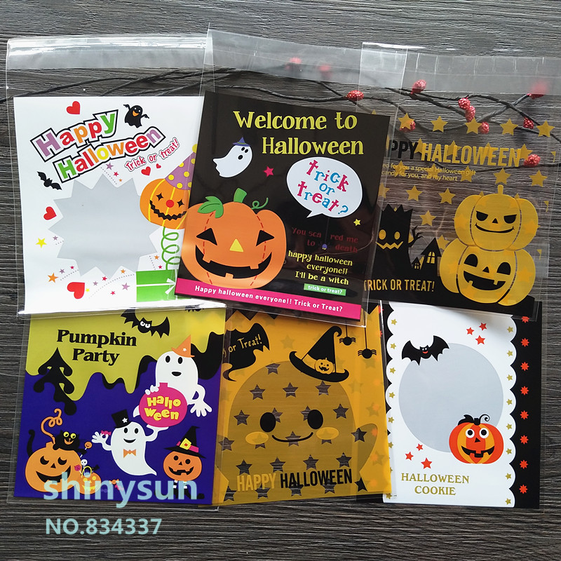 ON SALE 100pcs/lot Mixed Style Halloween Plastic Bags Cookie Packaging Bag 10x10cm Self Adhesive Bags