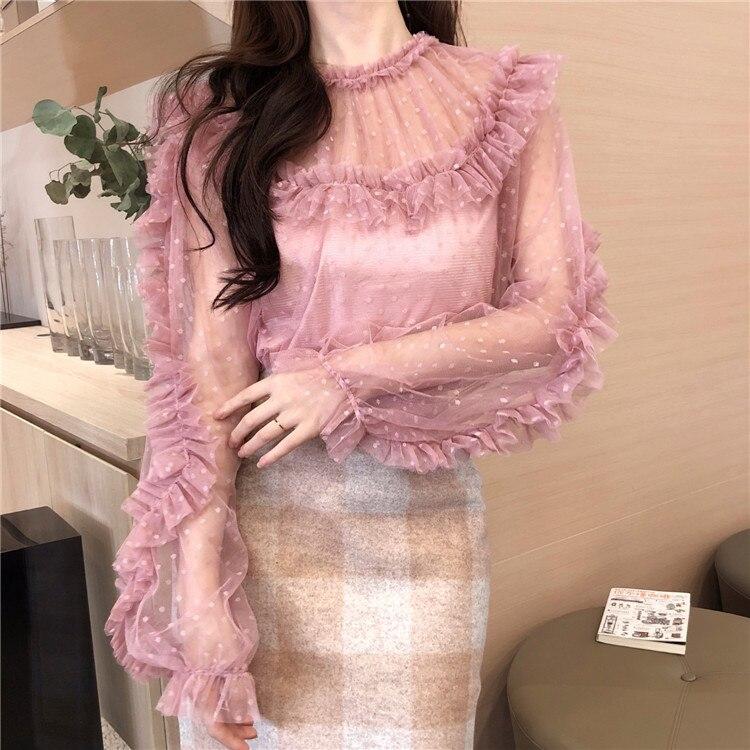 Women Ruffled Collar Dot Mesh Sweet   Blouses     Shirts   Female Full Lantern Sleeve Chic Tops   Blouses   Girls