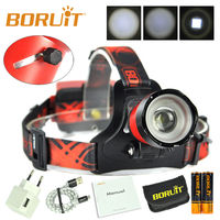 BORUiT B13 Cree XML L2 LED USB/Micro Headlamp Focus Hunting Headlight with Battery and Charger