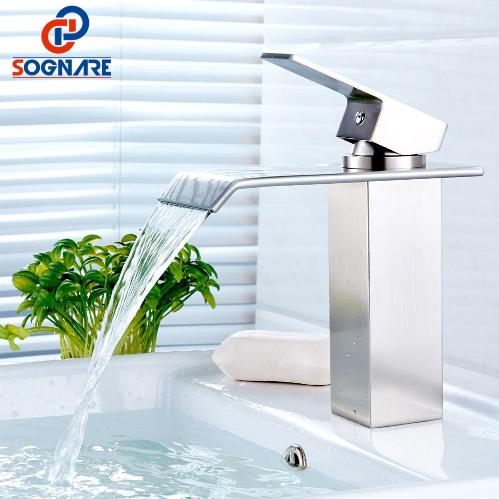 SOGNARE Waterfall Faucet Bathroom Faucets Basin Mixer Tap Nickel Brushed Basin Faucet Cold and Hot Basin Sink Faucet Torneira flg basin faucets modern orb bathroom faucet waterfall faucets single hole cold and hot water tap basin faucet mixer taps