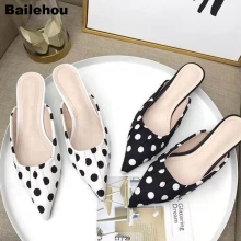 Women Slippers Pointed Toe Low Heel Fashion Polka Dot Pleated Closed Spring Slides Kitten Dress Shoes