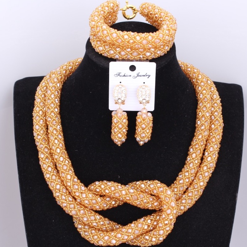 Statement Gold Bridal Beads Jewelry Sets Indian African Nigerian Beads Costume Necklace Set For Brides Women Free Shipping HotStatement Gold Bridal Beads Jewelry Sets Indian African Nigerian Beads Costume Necklace Set For Brides Women Free Shipping Hot