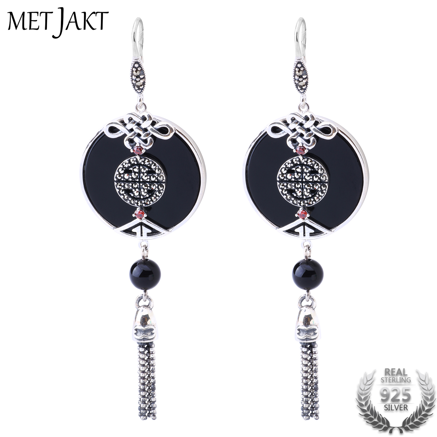 MetJakt Natural Black Agate Earrings Solid 925 Sterling Silver Vintage Earring for Lady Ethnic Style Luxury Jewelry metjakt bohemia natural agate white chalcedony drop earrings with zircon solid 925 sterling silver earring for women jewelry