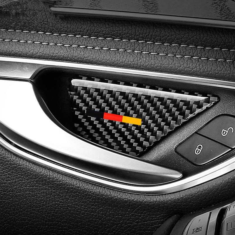 Carbon Fiber Inner Door Handle Bowl Decoration Cover Trim 4Pcs For Mercedes Benz C Class W205 C180 C200 GLC X253 2015-2018