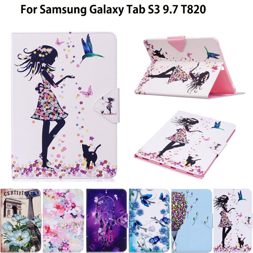 Fashion Girl Cat Cartoon PU Leather Case For Samsung Galaxy Tab S3 9.7 SM-T820 SM-T825 Cases Cover Tablet Flip Stand shell Skin