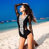 Female Swimwear One Piece Bath Suits Women's Push Up Swimsuit Plavky Full Swimsuits Korean Lace Long Sleeve Shoulders Swimmers