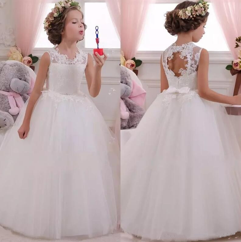 Holy Princess   Flower     Girl     Dresses   Ball Gown Lace Sleeveless Tulle Pageant   Dresses   First Communion   Dresses   For   Girls