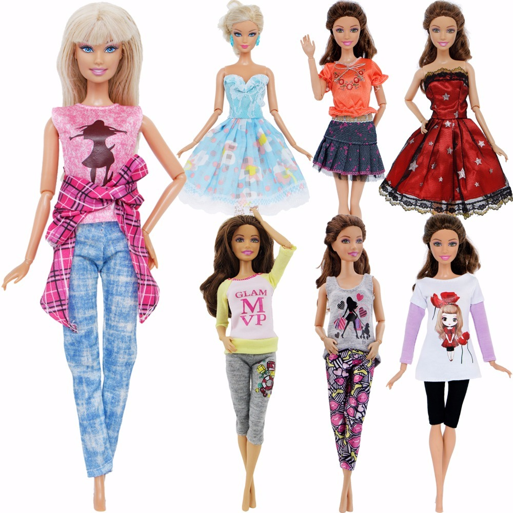 fdf60f23d5 High Quality Handmade Clothes Mixed Style Top Shirt Trousers Pants Skirt  Dress Accessories Clothes For Barbie