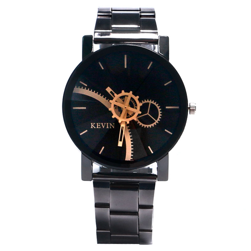 KEVIN Relojes Quartz Men Watches Casual Gear Dial Stainless Steel Strap Watch Male Wristwatch Couple Watches Relogio Masculino fashion quartz watch stainless steel dial male clock faux leather wristwatch men crystal casual watches relogio masculino